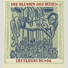 Graphik Linolschnitt Gewitter Gedicht von Heinrich Heine nach e