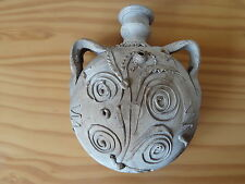 Ancient Roman Ceramic Pottery Round Belly Pilgrim Flask -  Snake Decoration