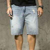 Men Denim Shorts Loose Ripped Jeans Half Pants Hip Hop Baggy Short Trouser Cosy
