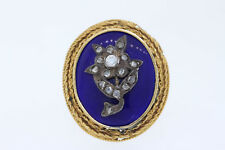 Antique Victorian 10k Yellow Gold .27ct Round Diamond & Blue Enamel Ring Sz 8.75