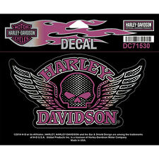 "Harley-Davidson® 5.5"" Willie G Skull w/ Wings Sticker Decal Purple Pink DC715303"