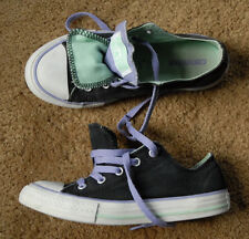 CONVERSE ALL STAR black purple green size juniors US 2 purple laces