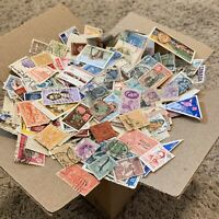 WW BOX LOT OF 1,000's OF OFF PAPER STAMPS FROM 100+ WORLDWIDE COUNTRIES