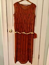 Rare Antique Art Deco Orange Flapper Dress 1920's Reduced