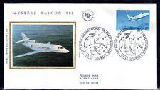 FRANCE FDC - 2372 2 AVION MYSTERE FALCON 900 3 Juin 1985 - LUXE sur soie