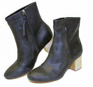 TOMS NEW Women's Leather Mid Back Boots Size 7 37.5 Block Heeled Side Zip