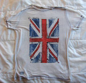 Men's Pepe Jeans Paisley Union Jack White Short Sleeve T-Shirt Slim Fit Large