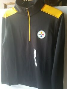 NWT NFL Pittsburgh Steelers SZ Small 1/4 Zip Black Pullover Long Sleeve Top