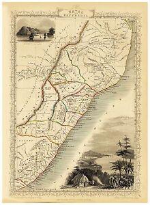 Old Vintage Map of Natal and Kaffraria richly illustrated Tallis 1851