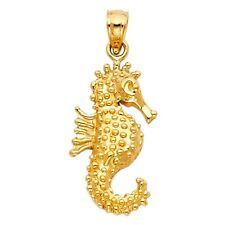 Stylish Textured Sea Horse 3-D Charm 20mm 14k Yellow Solid Gold Polished Pendant