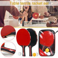 2Pcs Professional Table Tennis Ping Pong Racket Paddle Bat + 3 Balls Bag Sets