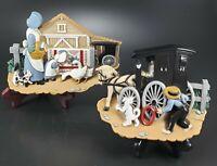 Amish Farm Wall Plaque Set Vintage Burwood 3340