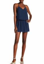 Haute Hippie Dress XS Navy Blue Midnight Caitlyn V Neck Racerback Short FLAWED
