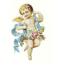 Ceramic Decals Cherub Angel Floral Blue