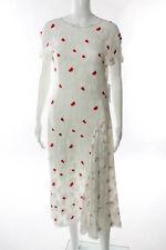 Nina Ricci White Silk Red Floral Print Ruffled Dress Size FR 36 New 108632