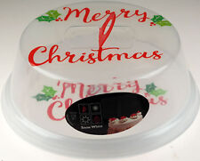 Large Round 25cm Christmas Cake Carrier / Carry Box And Protective Lid Cover