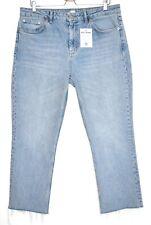Topshop High Rise STRAIGHT LEG Light Blue Raw Hem Jeans Size 16 W34 L32