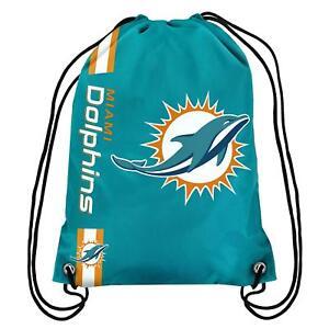 Miami Dolphins Back Pack/Sack Drawstring Gym Bag Sport Backpack New Side Stripe