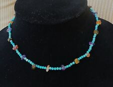 Vintage Southwestern Turquoise & Assorted Colorful Stones Necklace Surfer 16""