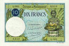 Madagascar P-36 10 francs UNC