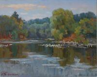 Original Geese in Pond Nature Ukraine Landscape Oil Painting Impressionism ART