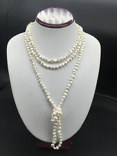 """One Strand White Cultured Fresh water Pearl opera Long Necklaces nugget 72"""""""