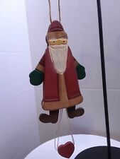 wood Santa Claus pull string puppet Christmas ornament