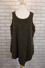 NEW $46 NY Collection Womens Tank Top Shirt Blouse Gold Black Plus Size 1X NWT