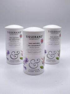 3 Tisserand Aromatherapy Deodorant Lavender Clary Sage Limited Edition 50ml 1.69