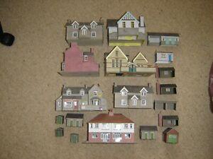 Job lot of card buildings for OO/HO gauge Model Railway Layout some needing TLC