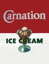 "TIN SIGN ""Carnation Ice Cream"" Dairy Art Deco Garage Wall Decor"