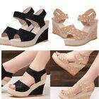 Women Sandals Elegant Fashion Women's Open Toe Wedge Sandals High Platform Shoes