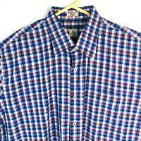 Peter Millar Mens Shirt Long Sleeve Purple Blue Plaid Size Extra Large XL