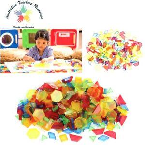 60 x Translucent Pattern Blocks Pattern Blocks Math Manipulative Kids Learning