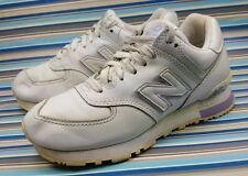 NEW BALANCE 574 WHITE LEATHER TRAINERS RUNNNG SNEAKERS WOMENS SHOES SIZE 7