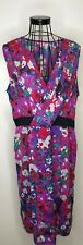 PER UNA MARKS AND SPENCER purple blue bright floral wrap pencil shift dress 16