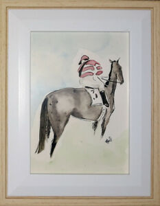 ORIGINAL FRAMED WATERCOLOUR 'The Mounting Yard Raceday'