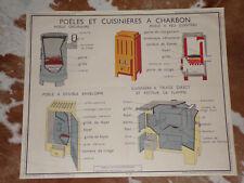 1950 AFFICHE ROSSIGNOL 13.POÊLES et CUISINIèRE à CHARBON/14.CHAUFFAGE CENTRAL