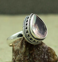 925 STERLING SILVER JEWELRY NATURAL ROSE QUARTZ BIRTHSTONE RING SIZE 8 KR1032