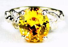 Golden Yellow CZ, 925 Sterling Silver Ladies Angel Ring, SR154-Handmade