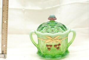 RARE VINTAGE  Mosser Green Opalescent Glass Cherry Pattern Lidded Candy Dish