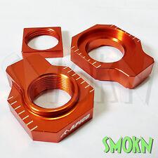 Apico Rear Axle Spindle Adjuster Blocks KTM SX-F 250 350 450 13-17 XC-F Orange