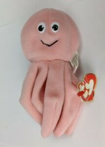 1995 TY Beanie Baby Inky Octopus 3rd Gen Hang Tag 1st Gen Tush Tag