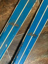 Vtg Wooden 40 Inch Skis Wood Kids Jr Skiing Set Chalet Cabin Decor Blue paint