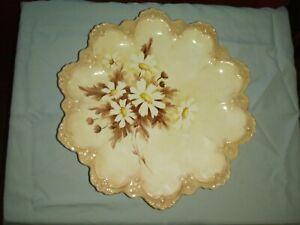 Vintage Pedestal Platter, Tan with Daisies,