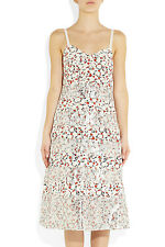 NWT MARC BY MARC JACOBS Sz2 WHITE EXETER PRINTED SILK CREPE DE CHINE DRESS TALC