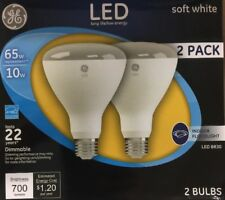 2pk GE 21907 Dimmable LED Soft White Light Bulb 10-Watt 65 W Indoor Flood light