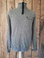 Mens woolrich Quarter Zip Sweatshirt Jumper top Medium Grey 46 Chest