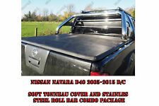 Nissan Navara D40 Stainless Steel Roll Bar and Soft Bed Cover Combo Package