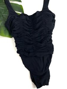 RACHEL PAPPO BY DIVA- Womens Sz 10 D Cup Black Ruched One Piece Bathing Swimsuit